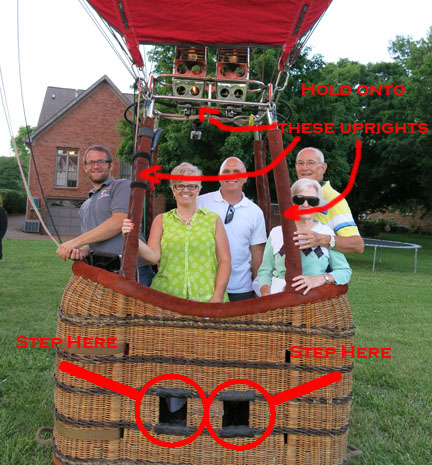 how to enter a hot air balloon basket